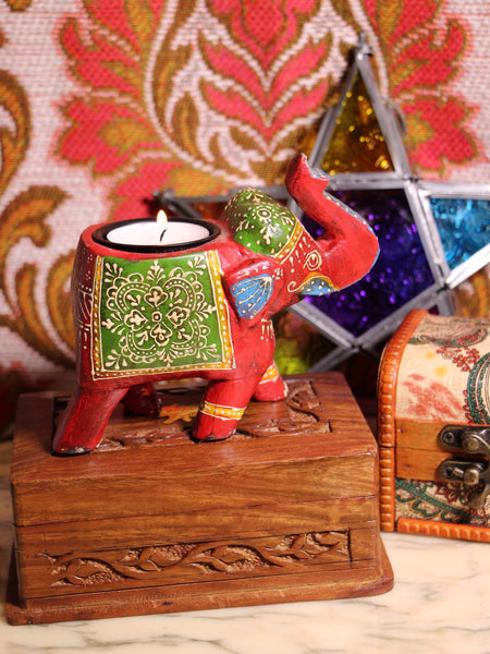 Wooden Indian Elephant Tea Light Holder (Red) - Penny Bizarre - 1