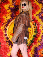 Vintage Brown Leather Biker Tassel Jacket - Penny Bizarre - 1