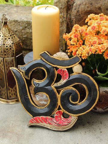 Hand Carved Indian Wooden Om Sign - Penny Bizarre - 1