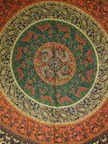 Indian Wall Hanging Double Throw Bedspread Mandala Green - Penny Bizarre - 1