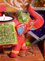Wooden Indian Elephant Tea Light Holder (Red) - Penny Bizarre - 3