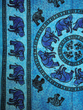 Indian Wall Hanging Single Throw Bedspread Elephant Tye Dye Turquoise - Penny Bizarre - 2