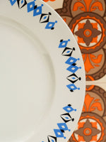 1960's Crown Clarence Geometric Pattern Dinner Plates x 2 - Penny Bizarre - 2