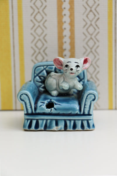 Vintage 60's 70's Mouse On A Sofa Ceramic Ornament Collectable - Penny Bizarre - 1