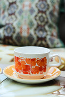 1970's Yellow Orange Funky Floral Tea For Two - Penny Bizarre - 2