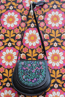 Vintage 70s Embroidered Floral Leather Saddle Bag - Penny Bizarre - 5