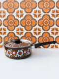 1970's Brown Floral Enamel Medium Saucepan - Penny Bizarre - 1