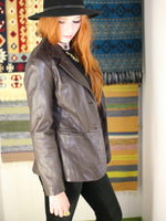 Vintage 1970s Dark Brown Leather Blazer Jacket - Penny Bizarre - 3