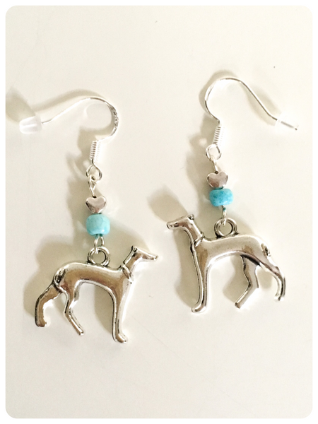 Hand Crafted 925 Sterling Silver Greyhound Lurcher Sighthound Turquoise Natural Gemstone Earrings