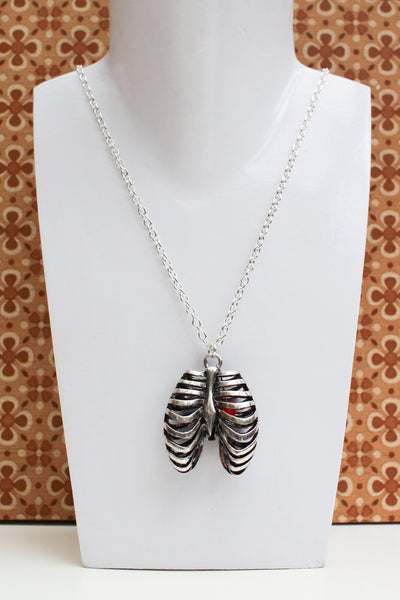 Hand Crafted Rib Cage Heart Necklace - Penny Bizarre - 1