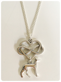 Silver Plated Whippet Italian Greyhound Lurcher Sighthound Infinity Heart Necklace