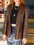Vintage 1970s Dark Tan Leather Blazer Jacket - Penny Bizarre - 3