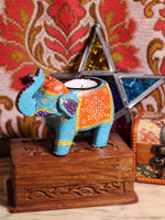 Wooden Indian Elephant Tea Light Holder (Blue) - Penny Bizarre - 1