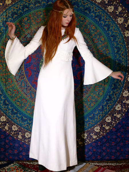 Vintage 1970s White Maxi Goddess Wedding Dress - Penny Bizarre - 1