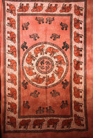 Indian Wall Hanging Single Throw Bedspread Elephant Tye Dye Rust - Penny Bizarre - 1