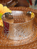 Wide Concave Hand Crafted Indian Flowers Silver Bangle - Penny Bizarre - 2