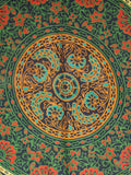 Indian Wall Hanging Double Throw Bedspread Mandala Green - Penny Bizarre - 3