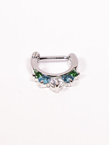 Five Gem Septum Clicker Ring (silver with turquoise, green & clear stones) - Penny Bizarre - 1