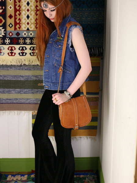Vintage 70s Tan Leather Saddle Bag - Penny Bizarre - 1
