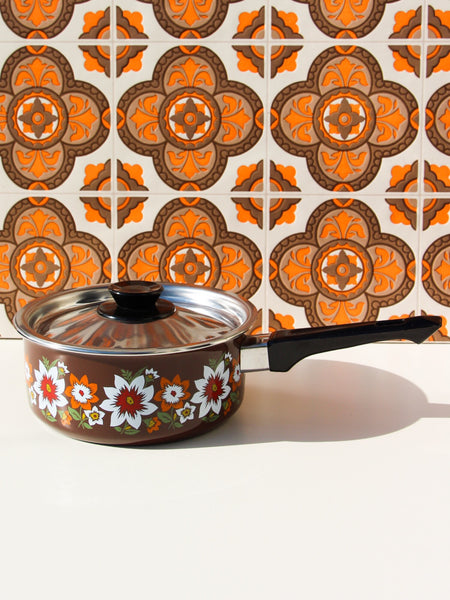 1970's Brown Floral Enamel Small/Medium Saucepan - Penny Bizarre - 1