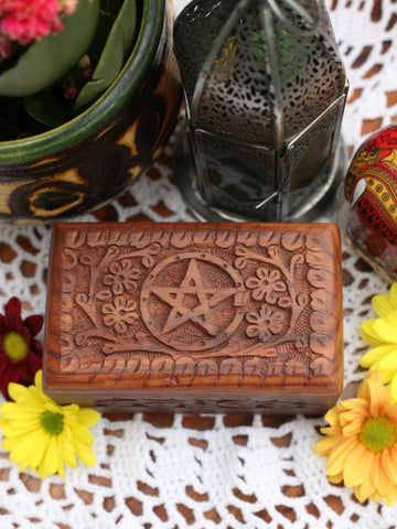 Hand-made Indian Wooden Box Pentagram - Penny Bizarre - 1