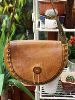 Vintage 70s Tooled Tan Leather Saddle Bag - Penny Bizarre - 2