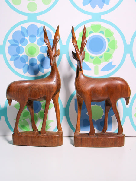 Vintage 70's Wooden Antelope (pair) - Penny Bizarre - 1