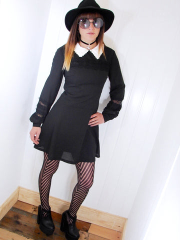 Coven Black Lace Collared Dress - Penny Bizarre - 1