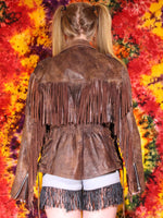 Vintage Brown Leather Biker Tassel Jacket - Penny Bizarre - 6