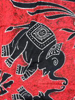 Indian Wall Hanging Double Throw Bedspread Elephant Red - Penny Bizarre - 3