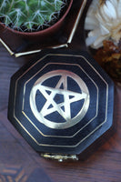 Hand-made Indian Brass Inlay Wooden Box Pentagram Black - Penny Bizarre - 2