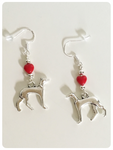 Hand Crafted 925 Sterling Silver Whippet Greyhound Lurcher Sighthound Red Heart Earrings