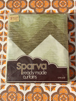Vintage 1970's Green Zig Zag Curtains Brand New - Penny Bizarre - 1
