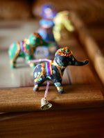 Indian String of 5 Lucky Elephants in Multi Coloured Floral Fabric - Penny Bizarre - 2