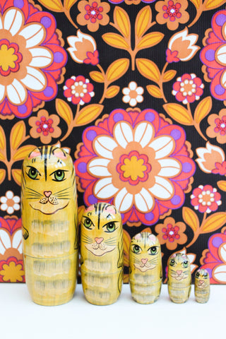 Hand-made Wooden Russian Dolls Set Tiger Cat - Penny Bizarre - 1