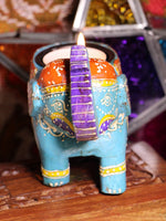 Wooden Indian Elephant Tea Light Holder (Blue) - Penny Bizarre - 3