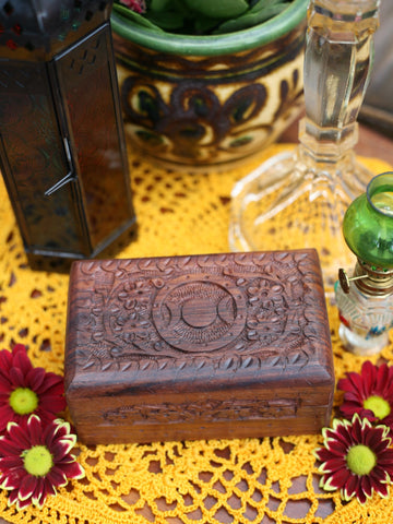 Hand-made Indian Wooden Box Triple Moon - Penny Bizarre - 1