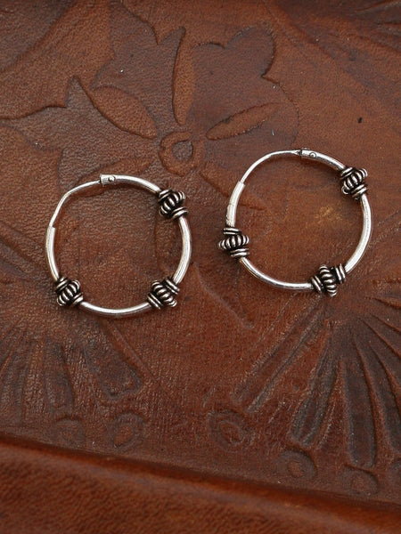 Hand Crafted 925 Sterling Silver Balinese Hoop Earrings 17mm - Penny Bizarre - 1