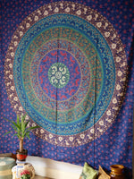 Indian Wall Hanging Double Throw Bedspread Mandala Blue - Penny Bizarre - 1