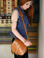 Vintage 70s Tan Leather Saddle Bag - Penny Bizarre - 3