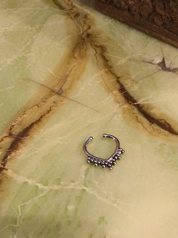 Silver Beads Non-pierced Septum Ring - Penny Bizarre