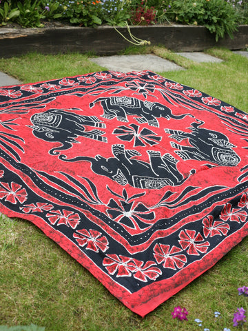 Indian Wall Hanging Double Throw Bedspread Elephant Red - Penny Bizarre - 1