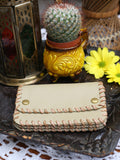 Vintage 70s Tan Leather Woven Purse - Penny Bizarre - 1
