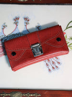 Vintage 70s Deep Red Faux Leather Purse - Penny Bizarre - 1