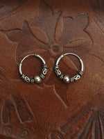 Hand Crafted 925 Sterling Silver Balinese Hoop Earrings 10mm - Penny Bizarre - 1