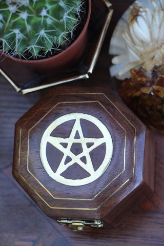Hand-made Indian Brass Inlay Wooden Box Pentagram - Penny Bizarre - 1