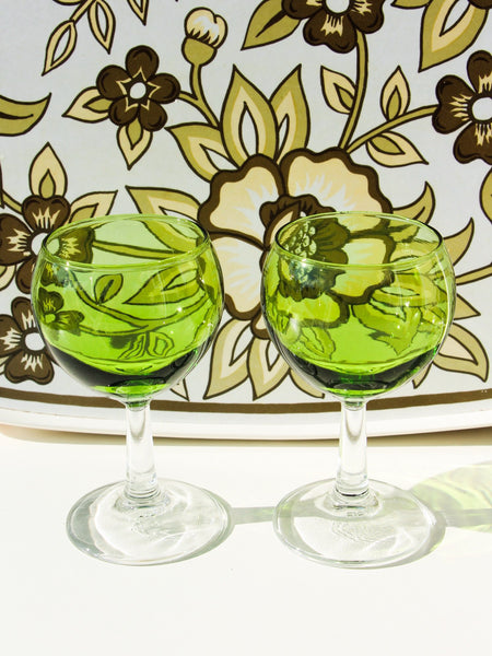1970's Green Wine Glasses x 2 - Penny Bizarre - 1