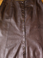 Vintage 70's Dark Brown Leather A-Line Skirt - Penny Bizarre - 3