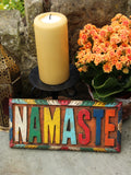 Hand Carved Indian Wooden Namaste Sign - Penny Bizarre - 1