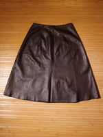 Vintage 70's Dark Brown Leather A-Line Skirt - Penny Bizarre - 4